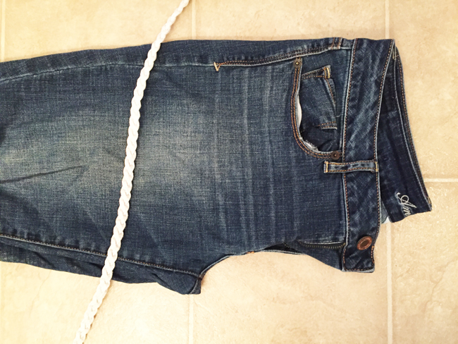 fold jeans for DIY cutoffs
